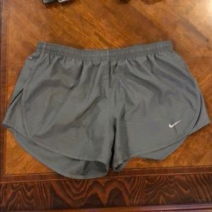 Grey dri fit Nike running shorts